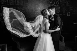 Lubbock modern wedding photo cool veil mood